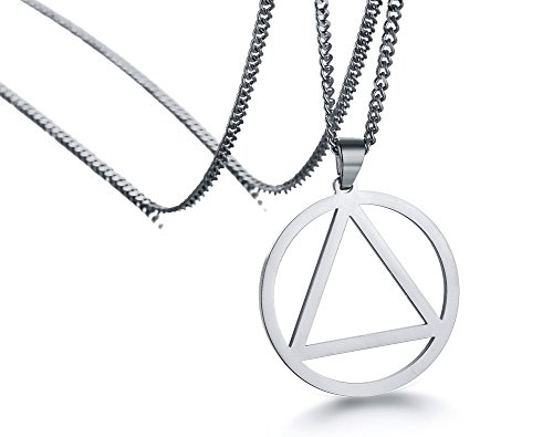 Mealguet Jewelry Stainless Steel The Holy Trinity Triangle and Round Geometry Minimal Pendant Necklace for Men Women,24