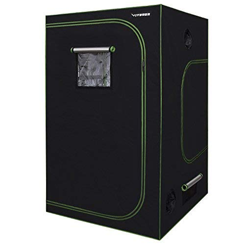 VIVOSUN 60'x60'x80' Mylar Hydroponic Grow Tent with Observation Window and Floor Tray for Indoor Plant Growing 5'x5'