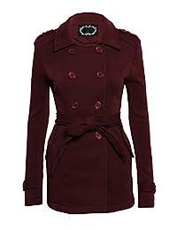 Women's Classic Style Long Sleeve Fleece Double Breasted Peacoat Belted Blazer