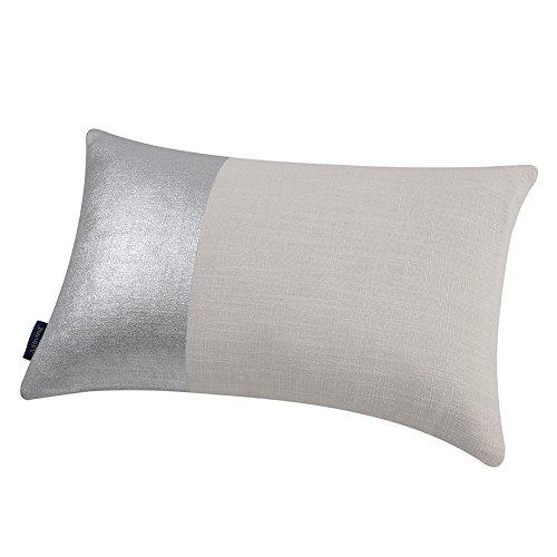 - Aitliving Metallic Silver Foil Print Throw Pillow Shell Natural Linen Blend Block Panel Pillow Sham Lumbar Cushion Cover Accent Breakfast Pillow Case 30X50cm, 12X20inch
