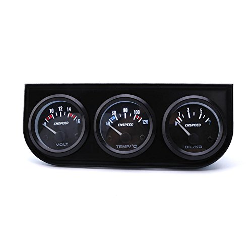CNSPEED 2'' 52MM 3 In 1 LED Triple Voltmeter/Water Temp/Oil Pressure Gauge Kit With Oil Press And Water Temp (2' Voltmeter)