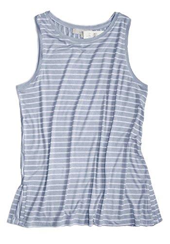 Ann Taylor LOFT Loft - Women's - Mixed Stripe Print Swing Tank Top (Blue, Small) Ann Taylor Loft Sleeveless