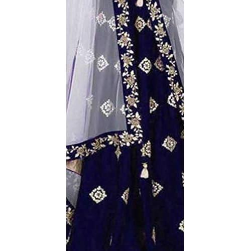 41801PgDojL. SS500  - Aayan export Women's Silk Embroidered Semi-Stitched Lehenga Choli and Dupatta Set (Blue, Free Size)