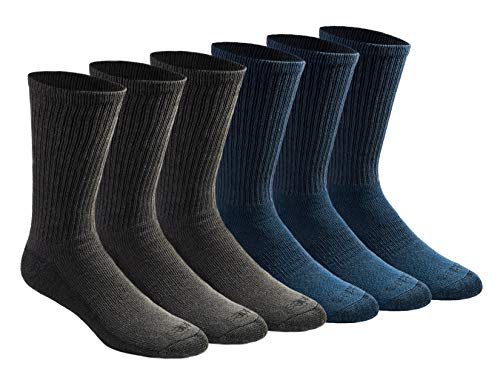 Dickies Men's Multi-Pack Dri-Tech Moisture Control Crew Socks, Mixed Denim (6 Pair), Shoe Size: 6-12 ()