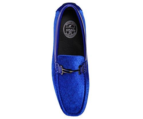 Pantofole Da Amali Uomo Velluto Fannullone Smoking In Paisley E Disegni In Tinta Unita Roberto Piero Royal Blue