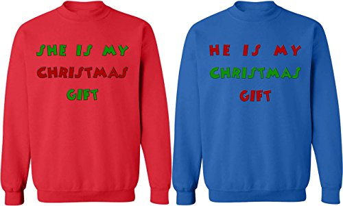 She & He is My Christmas Gift - Matching Couple Sweatshirts - His and Her Sweaters