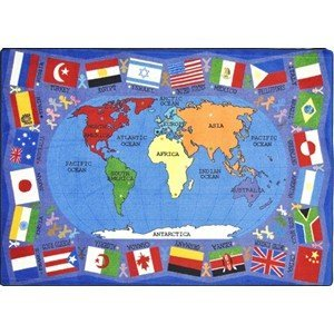 FLAGS OF COUNTRIES & CONTINENTS Premium Cut Pile STAINMASTER Nylon Area Rug (10'9''x13'2'')