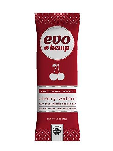 Evo Hemp - Cherry Walnut Plus Greens Bar (Single Bar) - Power-Packed Healthy Snacks - Best Fruit and Nut Bars With Omega 3s, Hemp Protein and Fiber - 100% Organic Snacks With Amazing Taste