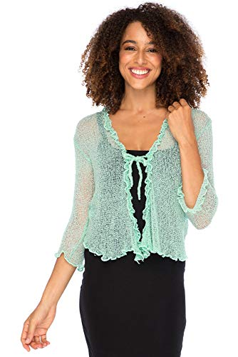 Back From Bali Shrug Lite Ruffle Aqua ()