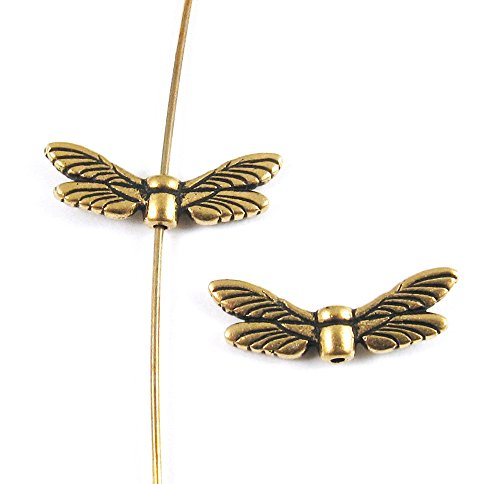 TierraCast Pewter Beads-GOLD DRAGONFLY WINGS (2)