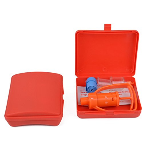 Mexidi Venom Extractor Kit, Bee Sting Suction Pump,Emergency First Aid Set Supplies for Snakes Insects Bite (Orange)