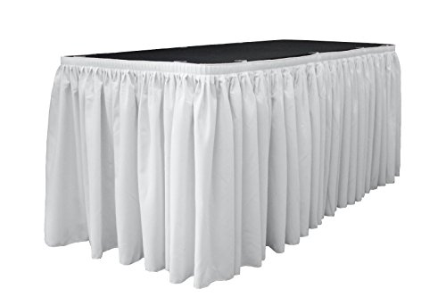 LA Linen Polyester Poplin Pleated Table Skirt with 10 Large Clips, 14-Feet by 29-Inch, White