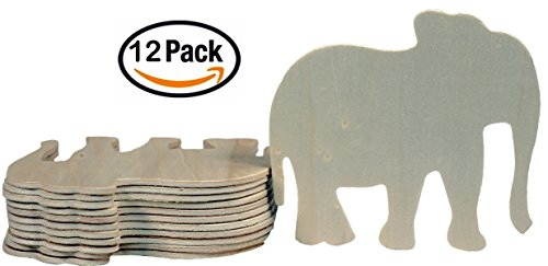Creative Hobbies 4 Inch Unfinished Wooden Elephant Shapes, Pack of 12, Ready to Paint or Decorate - Plywood Elephant