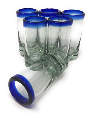 Hand Blown Mexican Tequila Shot Glasses - Set of 6 Cobalt Blue Rim Tequila Shot Glasses (2 oz each)