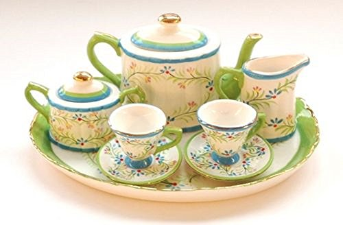 Caitlyn Spring Floral Design Porcelain Children's 10 pc. Large Tea Party Set (Porcelain Band Gold)