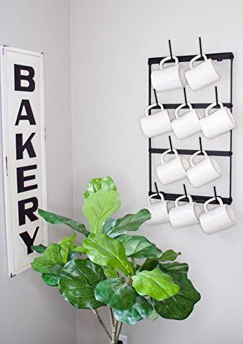 Claimed Corner Mini Wall Mounted Mug Rack - 4 Row Metal Storage Display Organizer For Coffee Mugs, Tea Cups, Mason Jars, and More. by Claimed Corner (Image #5)