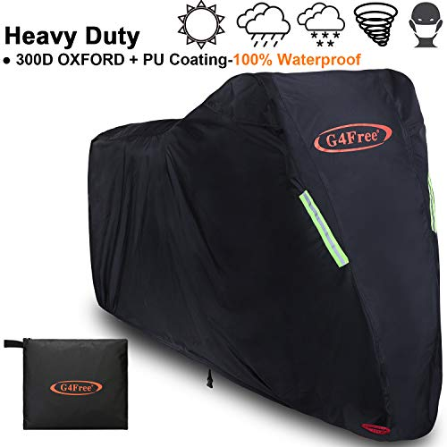 G4Free Motorcycle Cover With Lock Holes Upgrade 300D Oxford+ PU Coating Material All Season Waterproof Protection Universal 96