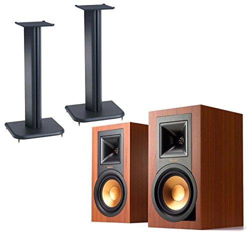 Price comparison product image Klipsch R15PM (Pair) Powered Monitors with Sanus BF24B1 (Pair) Bookshelf Speaker Stands - Cherry
