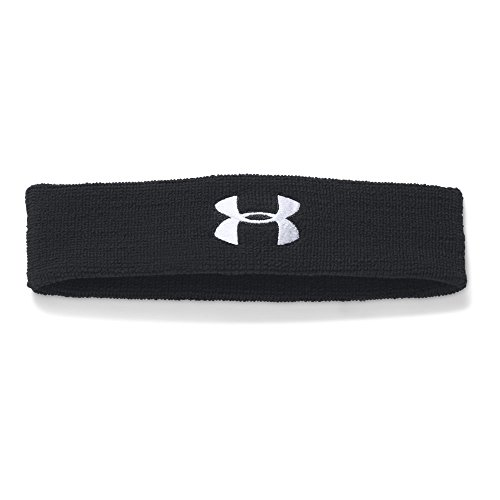 Under Armour mens Performance Headband Black (001)/White One Size Fits All (Exercise Underarmour Headband)