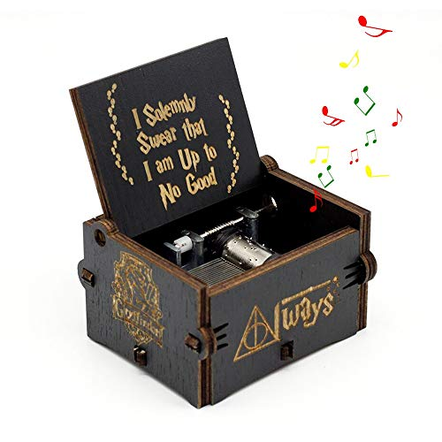 Leegoal Hary Poter Music Box, Hand Crank Musical Box Carved Wooden,Play The Sweet of Song, Merry Christmas Theme Gift