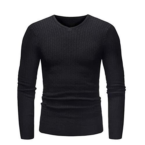 SUUGEN Men's Turtleneck Sweater Ribbed Slim Fit Knitted Pullover Relax Fit Knitwear (l, V-Neck Black)