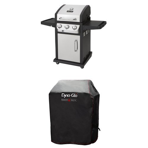 Dyna-Glo DGB390SNP-D Smart Space Living 36,000 BTU 3-Burner LP Gas Grill and Premium Grill Cover,Small - 3 Burner Gas Barbecue