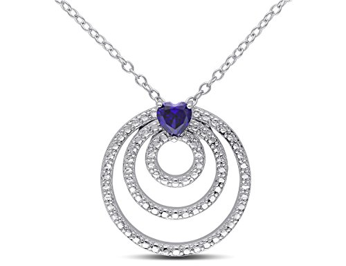 Lab Created Blue Sapphire Triple Circle Heart Pendant Necklace 1/4 Carat (ctw) with Chain in Sterling (Sapphire Heart Circle Pendant)