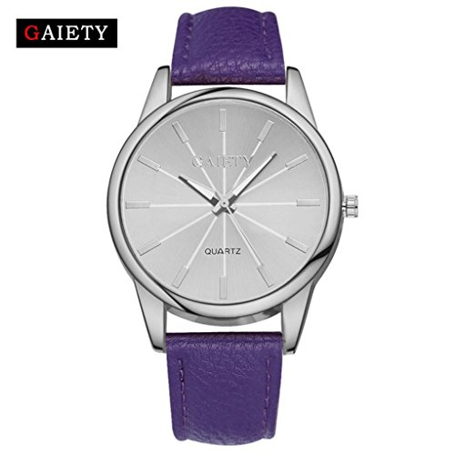 Transparent Dial Faux Leather Wrist Watch (Purple) - 4