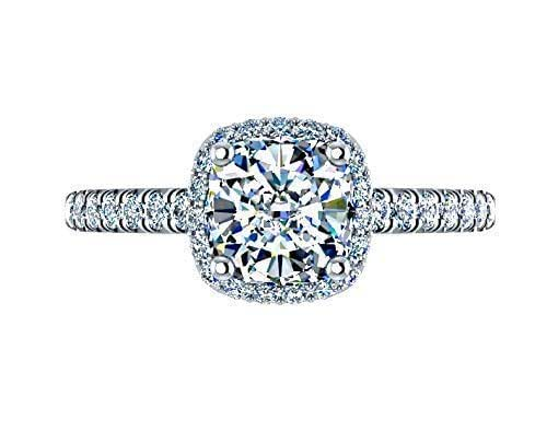 Amazon.com: 1.64 Ctw Cushion Halo Diamond Ring Classic