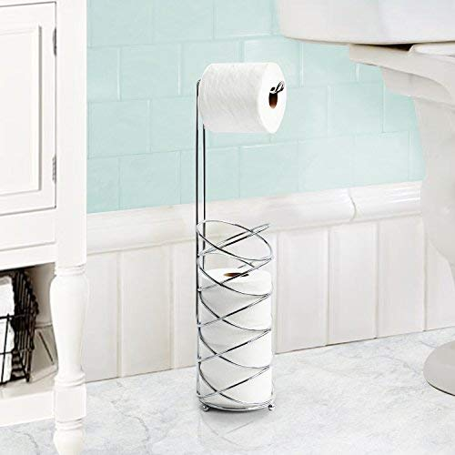 Inspired Living Holder Reserve Stand Holds 4 Standard Rolls in Silver Spiral Collection Toilet Paper Tower,
