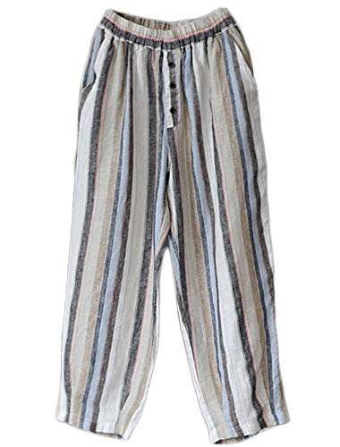 - LaovanIn Women's Striped Wide-Leg Cropped Pants Linen Capri Harem Casual Trousers Medium Light Blue