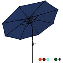Patio Umbrella 9 Ft Aluminum Outdoor Table Market Umbrellas With Push Button Tilt and Crank, Safety Bolt,8 Ribs (Navy Blue)