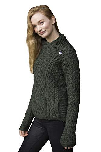 Aran Crafts Cable Knit Stitch Side Zip Cardigan XL Army Green (Z4630-XL-AGRE)