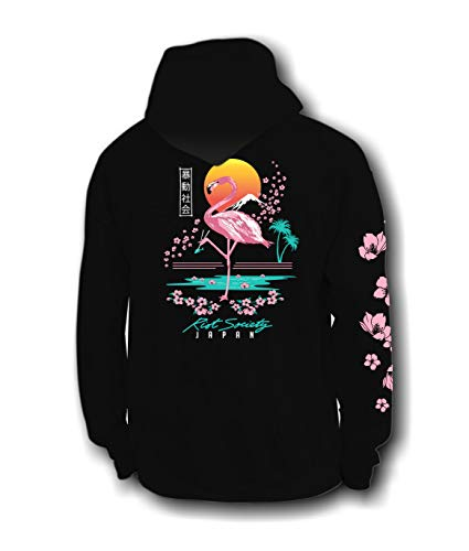 Riot Society Flamingo Blossom Mens Hoodie - Black, XX-Large