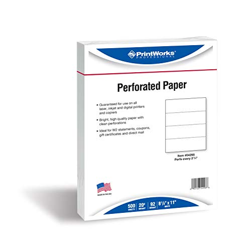 "PrintWorks Professional 4 Part Perforated Paper for W2s, 1099 Forms, Invoices and More, 8.5 x 11, 20 lb, Perfed Every 2 3/4"", 500 Sheets, White (04298)"