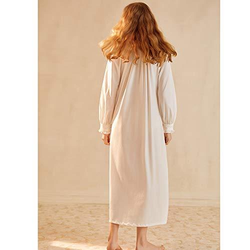 Cuerpo Entero Algodón Retro V Cuello Vestido Manga White Camisón Palacio Larga Las En Viento Ropa Mujeres Dormir Señoras De Con YO7gw