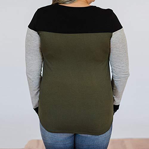 Girocollo Collo Sciolto Verde Maglietta Manica Eleganti Blusa Donna OHQ Festa Shirt Orlo Irregolare Lunga Stampa T MODA Camicette Camicia Maniche C A con Cime Autunno Camicie Camicetta gPwxw4zCq