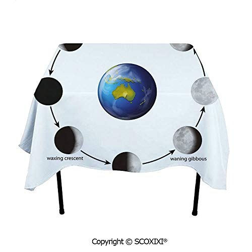 SCOXIXI Park Tablecloth Washable Polyester Fabric,Phases on The Moon as seen from Earth Celestial Rotation Astrology Cycle Decorative,W55XL55 Inches (Distance From Earth To Moon In Inches)