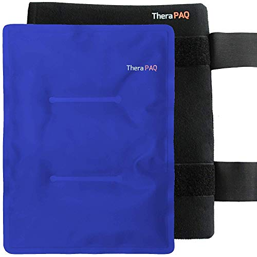 "Large Reusable Gel Ice Pack with Wrap by TheraPAQ - Hot & Cold Therapy for Hip, Shoulder, Back, Knee - Pain Relief for Injuries, Recovery, Swelling, Aches, Bruises & Sprains (XL Blue Pack: 14"" X 11"")"