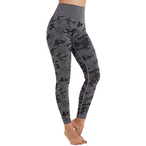 Aoxjox Yoga Pants for Women Workout High Waisted Gym Sport Camo Seamless Leggings (Camo/Black Grey, Small)