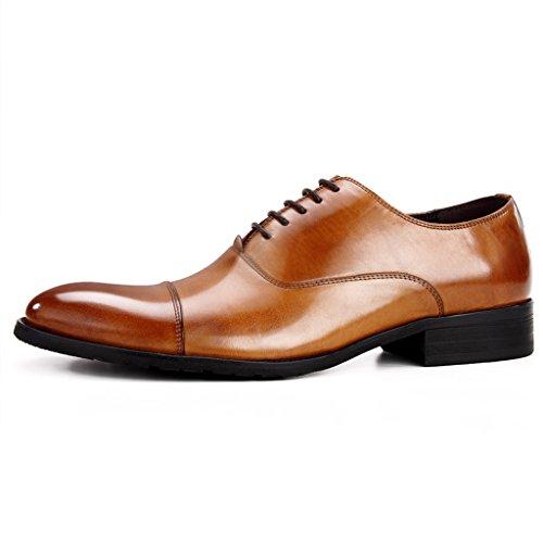 Zapatos Clásicos de Piel para Hombre Zapatos de cuero de estilo europeo para hombres Ropa formal de costura a mano de negocios Estilo británico acentuado ( Color : Color cafe , Tamaño : EU39/UK6 ) Marrón