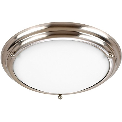 Sea Gull Lighting 77087-98 2-Light Centra Close-to-Ceiling Fixture, Satin White Glass and Brushed Stainless