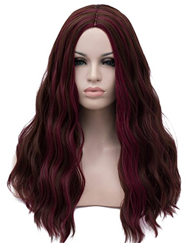 TopWigy Women Wigs Long Wave Reddish Brown Color Middle Part Synthetic Hair Replacement Costume Female Wigs (Brown Highlight 22