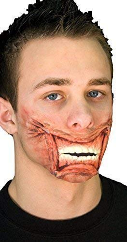 Ladies Mens Halloween Bloody Zombie Cheshire Cat Alice in Wonderland Special Effects Latex Make Up Fancy Dress Costume Outfit Kit (Staple Mouth)]()