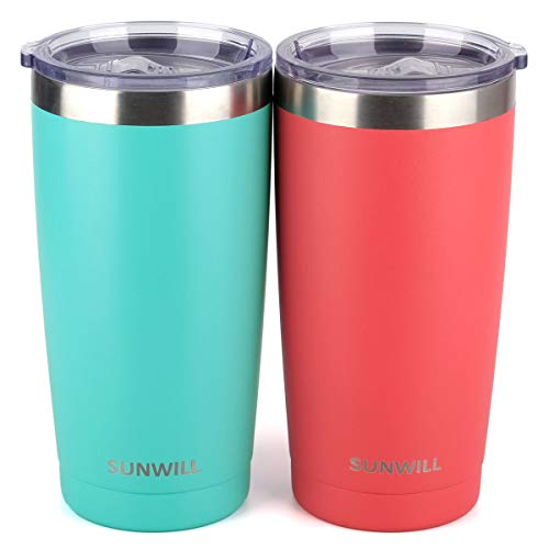 (SUNWILL 20oz Tumbler with Lid (Teal & Coral 2 pack), Stainless Steel Vacuum Insulated Double Wall Travel Tumbler, Durable Insulated Coffee Mug, Thermal Cup with Splash Proof Sliding Lid)