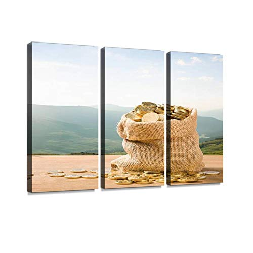 (BELISIIS Sack Full of Gold Euro Coins in Outdoor Setting Wall Artwork Exclusive Photography Vintage Abstract Paintings Print on Canvas Home Decor Wall Art 3 Panels Framed Ready to Hang)