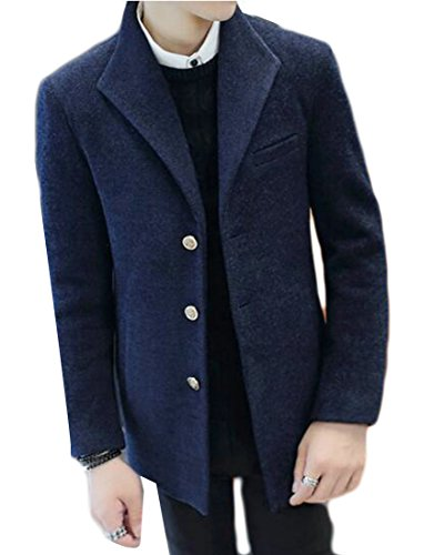 Wool today Long Button Blue Blend Sleeve Three Jacket Mens UK Lapel wSSPZrBAq