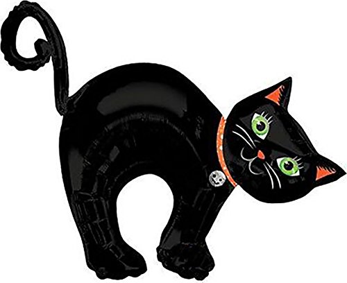 "Custom, Fun & Cool {XL Huge Giant Size 33"" Inch} 1 Unit of Helium & Air Inflatable Mylar Foil Balloon w/ Cute Smiling Witch's Kitty Cat Halloween Pet Design [in (Giant Inflatable Halloween Cat)"