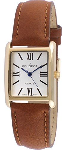Peugeot Women's 14k Gold Plated Tank Roman Numeral Brown Band Stainless Steel Quartz Watch with Leather-Calfskin Strap, 19 (Model: 3036BR)