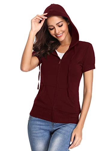 MISS MOLY Women's Short Sleeve Hoodie Full Zip Up Thin Cotton Slim Fit Sweatshirt Kanga Pocket Red 2XL ()